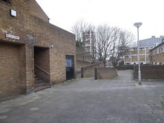 The Orchard Estate,4 (doojohn701) Tags: uk trees london stairs vintage concrete post greenwich retro lampost bland 1970s modernist depressing forbidding
