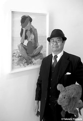 Dr. Takeshi Yamada and Seara (Coney Island Sea Rabbit) at the Chelsea art gallery district in Manhattan, New York on May 12, 2015.  20150512 014=PCBW (searabbits23) Tags: ny newyork sexy celebrity rabbit art hat fashion animal brooklyn asian coneyisland japanese star tv google chelsea king artist gallery dragon god manhattan famous gothic goth uma ufo pop taxidermy vogue cnn tuxedo bikini tophat unitednations playboy entertainer oddities genius mermaid amc mardigras salvadordali performer unicorn billclinton seamonster billgates aol vangogh curiosities sideshow jeffkoons globalwarming mart magician takashimurakami pablopicasso steampunk damienhirst cryptozoology freakshow seara immortalized takeshiyamada roguetaxidermy searabbit barrackobama ladygaga climategate  manwithrabbit