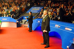 Your referees - Greg Coniglio and Paul Collier (zawtowers) Tags: world standing collier paul championship afternoon greg theatre sheffield first round tuesday april ready session snooker 19th referees coniglio crucible 2016 betfred thehomeofsnooker