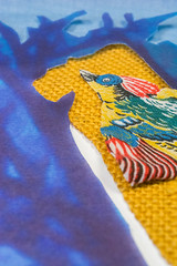 Yellow bird (Mnica Leito Mota) Tags: bird yellow mixedmedia fiberart