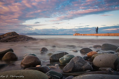 photographer taking my spot :) (Aga G. Photography) Tags: ireland sunset sea sky nature clouds outdoors photography pier long exposure colours stones sigma 24mm louth salterstown canon5dmark3