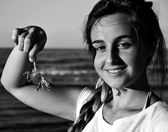 88 (roxyhopelust) Tags: blue sunset sea summer portrait bw italy copyright sun fish hot beach nature water colors girl beautiful animal lady hair fun photography photo seaside eyes sand nikon funny girlfriend day photos sweet style crab sunny pic rimini blonde ita bandana mypic braid 2014