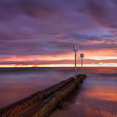 MORNING COLOURS (Joel Coleman Photography) Tags: ocean morning pink light sea sky color beach water sunrise dawn purple