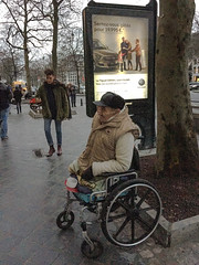 Not in the Volkswagen ad. Brussels, January 2015. (joelschalit) Tags: poverty brussels cars vw volkswagen europe belgium wheelchair poor bruxelles beggar disabled cripple europeanunion begging mobility inequality legless