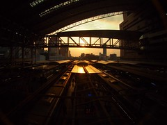 Sunset at Osaka station (murozo) Tags: sunset urban station japan train platform railway fisheye 大阪 日本 osaka 電車 夕日 鉄道 線路 大阪駅 都会 ホーム