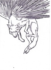 Wolf (Throughthethorns) Tags: illustration sketch wings wolf drawing cartoon