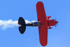 Spencer Suderman in his Pitts S-2B (Norman Graf) Tags: plane airplane aircraft smoke airshow biplane s2 aerobatics pitts pcam pittsspecial s2b pacificcoastairmuseum spencersuderman n260gr 2015wingsoverwinecountryairshow
