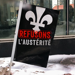 Anti-austerity movement (Exile on Ontario St) Tags: winter snow canada fleur station square movement montral metro quebec montreal flag hiver politics protest victoria qubec government neige fleurdelis fleurdelys protesting lys politique economy economics lis manif manifestation mouvement mtrodemontral drapeau snowbank pennant squarevictoria montrealmetro gouvernement austerity contestation conomie austrit bancdeneige refusons antiausterity rigueurconomique politiquederigueur