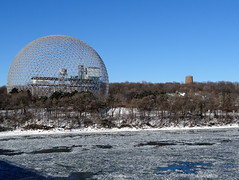 Biosphere across the Saint Lawrence River in Montreal (chibeba) Tags: city winter vacation urban holiday canada montral quebec montreal january northamerica qc 2016 citybreak