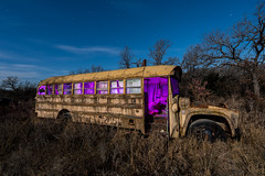 The Magic School Bus (GnarlyRelics) Tags: wood old blue school trees light sky usa lightpainting bus abandoned home broken window glass car yellow mystery night rural truck vintage dead lost photography star woods nikon long exposure paint texas purple antique decay tx magic transportation d750 nikkor busted camper lightpaint transpot rurex 1424mm texploration