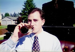 Day 042 of 366 (Throw-Back Thursday Edition) (James_Seattle) Tags: wedding man guy me beer oregon james 1996 tie scan february oregoncity 2016 carriageride june1996 hpscanner oregoncityoregon throwbackthursday 366challenge inmy20s february2016