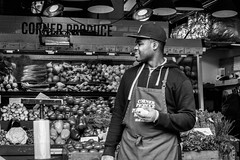 Corner Produce (dharder9475) Tags: blackandwhite bw man store market candid streetphotography produce pikeplacemarket seattletrip 2015 socialphotography privpublic