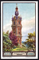 Liebig Tradecard S1330 - Bergen (Mons) (cigcardpix) Tags: church bells vintage advertising belgium ephemera liebig tradecards