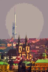 Simplified Cities II (Prague) (Ursa Davis) Tags: city travel our tower church television modern lady photography photo europe republic czech prague cathedral gothic landmark before historic conceptual davis antenna tyn ursa zizkov
