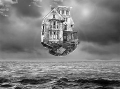 House in the sky (JSEBOUVI : thanks for 1.9 million views !) Tags: sky house collage vintage gris horizon ciel maison rocher effet