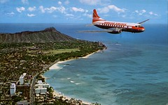 Hawaiian Airlines Super Convair Over Diamond Head (SwellMap) Tags: architecture plane vintage advertising design pc airport 60s fifties aviation postcard jet suburbia style kitsch retro nostalgia chrome americana 50s roadside googie populuxe sixties babyboomer consumer coldwar midcentury spaceage jetset jetage atomicage