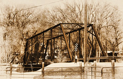 Old Bridge (Eyellgeteven) Tags: road old bridge sepia rural river rust iron steel rusty rusted modified crawford rivercrossing rustyandcrusty truss steelbeam trussbridge crawfordcolorado eyellgeteven