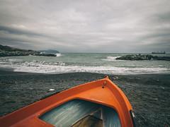 Orange boat (FButzi) Tags: sea orange clouds boat barca waves olympus genoa genova omd ligurian em10 f4056 vernazzola 918mm