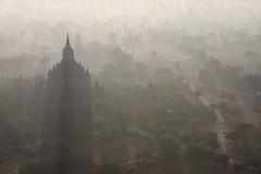 Light through the temple (deus77) Tags: light hot sunrise landscape temple lights ray view burma air balloon aerial myanmar through burmese bagan sulamani
