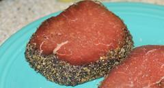 Raw steaks on fiesta ware plat (I <3 Bokeh) Tags: steak fiestaware rawmeat montrealseasoning