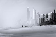 Fade to white (jenni 101) Tags: blackandwhite beach monochrome surf highkey swell cyclone surfersparadise goldcoast closedbeach cyclonewinston