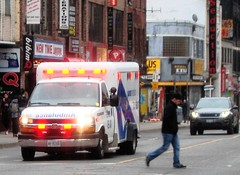 too cool to run (yyzfoto) Tags: toronto idiot pedestrian ambulance yongestreet torontoems