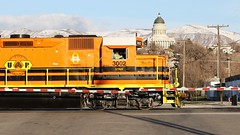 Utah Railway Company EMD GP40 # UTAH 3002 at Salt Lake City, Utah, USA. (Laurence's Pictures) Tags: city railroad lake train utah salt railway line short electro motive wyoming gw genesee gp 38 emd