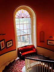 A very grand affair (Eire's Gorgeous Golden Gorse representative) Tags: old building history window bench cork seat grand stainedglass walls newmarket bannister spiralstaircase aldworth iphone5 jamesokeeffeinstitute 2016onephotoeachday