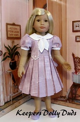 Pleated frock made to fit Kidz'n'Cats doll (Keepersdollyduds) Tags: doll dress lace buttons tie grace cotton frock collar pleated keepers kidsncats keepersdollyduds