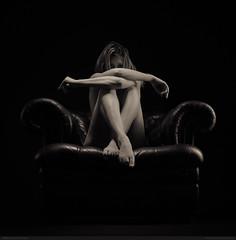 Miss H (bcud14) Tags: blackandwhite woman monochrome studio nude square sitting armchair lowkey