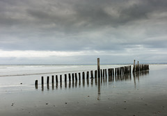 Tranquility (Alan Frost LRPS) Tags: sea reflection clouds coast sand westsussex wittering groynes easthead 35mmsummilux m9p