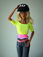 GAP cap girl (Deejay Bafaroy) Tags: pink portrait black fashion yellow toys doll barbie rosa portrt gelb cap blond blonde makeda adele fr schwarz royalty puppe bombshell kappe integrity