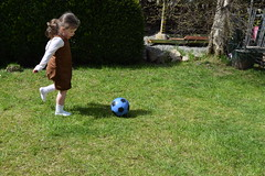 Soffi taking a free kick! (pwllgwyngyll) Tags: old boy liverpool football goal kick year free ten supporter strike welsh practice taking footy striker jac anfield lfc liverpoolfc at