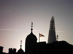 The Shard (thingamijig) Tags: city london silhouette skyline buildings twilight dusk flag weathervein theshard