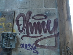 Ohmy (Randall 667) Tags: street urban building art abandoned island graffiti artwork artist exploring dump crew writer rhode cumberland outcast ohmy tagger