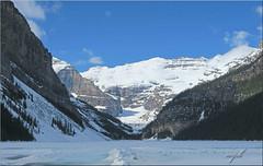 Lake Louise, Alberta (minniemouseaunt) Tags: mountains elements lakelouise lakelouisealberta lakelouiseinwinter wintermountainscene snowonlakelouise