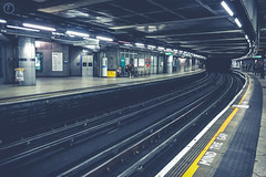 (fuTuRe Photography by Scott Mc Clintock) Tags: uk travel london westminster yellow train dark underground transport tube deep sombre mindthegap matte tfl visitlondon