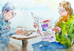"""reading material"" - watercolour (Nora MacPhail) Tags: people urban toronto art watercolor painting sketch cafe drawing watercolour draw sketchers cafemoment urbansketchers noramacphail torontowatercoloursociety tousk"