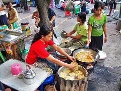 Yangon - Street kitchen (sharko333) Tags: voyage street travel people food kitchen asia asien downtown yangon burma olympus myanmar asie birma reise rangoon em5