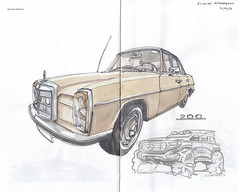 Mercedes-Benz 200 (W115/8) (Flaf) Tags: colour water car pen ink vintage mercedes benz drawing bald 8 200 mercedesbenz florian siegen freie acht strich flaf strichacht afflerbach leimbachstrase zeichnerei