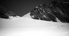 Almost there! (Celtic-Wanderer) Tags: blackandwhite bw snow mountains ice monochrome landscape outdoors mono switzerland nikon rocks hiking trail hikers walkers jungfrau berneseoberland jungfrauregion mountainous bernesealps d5000 monchsjoch icytrail