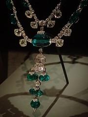 Closeup of The Inquisition Necklace featuring 15 Colombian emeralds and 336 diamonds (mharrsch) Tags: washingtondc smithsonian necklace jewelry diamond artdeco emerald platinum inquisition museumofnaturalhistory 20thcenturyce mharrsch