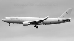 RSAF A330 MRTT In Black & White. (spencer.wilmot) Tags: blackandwhite monochrome plane airplane aircraft aviation airbus arrival approach 2403 a330 aar tanker airliner militaryaviation widebody bzz brizenorton rsaf royalsaudiairforce a330mrtt egvn