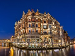 Hotel de l'Europe, Amsterdam (urbanexpl0rer) Tags: longexposure sky urban house reflection netherlands amsterdam architecture reflections hotel canal nederland canals historical bluehour amstel noordholland rijksmonument hotelleurope