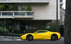 Ferrari 458 Speciale (misterokz) Tags: paris car yellow photography automobile ferrari voiture exotic supercar speciale 458 misterokz