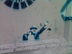 TAXI! (chrisrandall7) Tags: street urban guy art bike island graffiti artwork stencil path exploring small providence rhode waving tagger