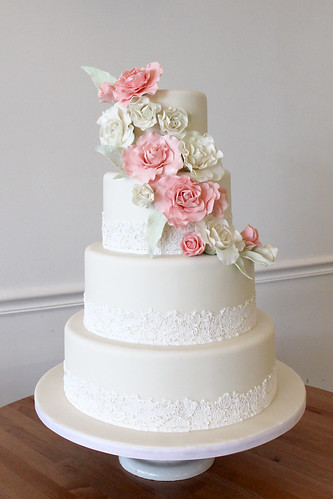 Sugar Lace with Pink Sugar Garden Roses Wedding Cake