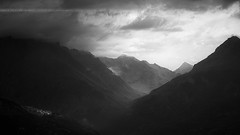 From Darkness to Light ... ( Parc National des Ecrins / France ) (Yannick Lefevre) Tags: bw france mountains alps monochrome montagne alpes landscape nationalpark nikon europe raw nef tripod nb mount nikkor paysage manfrotto ecrins vallée pelvoux vallouise hautesalpes parcnationaldesecrins d700 massifdesecrins photoshopcc lightroomcc