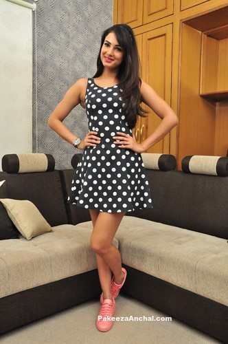 Sonal Chauhan Wearing A Polka Dot HM US Short Skirt