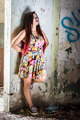 Hope (AzazzelPhotography) Tags: portrait woman building beautiful beauty fun dress geek girly longhair naturallight redhair oldbuilding rebellious portraitphotography sneackers adventuretime abandombulding